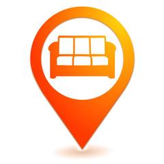 canapé salle d'attente sur symbole localisation orange