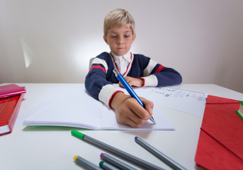 Boy writing something in notebook