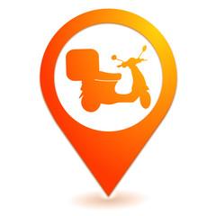 livraison de pizza sur symbole localisation orange