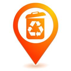 recyclage des déchets sur symbole localisation orange