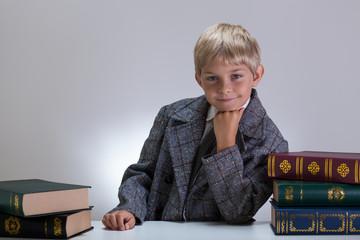 Happy nerd among books