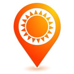 soleil sur symbole localisation orange