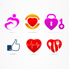 Heart icons like buttons for website