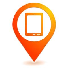 tablette numérique sur symbole localisation orange