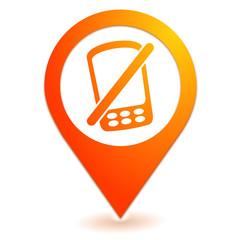 téléphone portable éteint sur symbole localisation orange