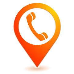 téléphone sur symbole localisation orange