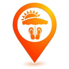 vacances sur symbole localisation orange