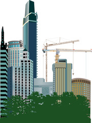 illustration with blue skyscrapers