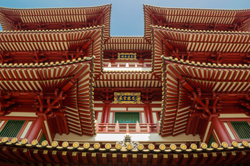 Roofs of  Buddha Tooth Temple in Singapore