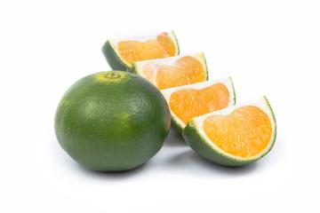 Sliced Green Mandarins - Clipping Path Inside