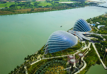 Greenhouses in Gardens by the Bay and river, Singapore