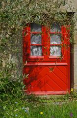 Rote Haustür und Wiese im Frühling