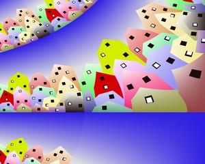 paesaggio urbano con casette colorate