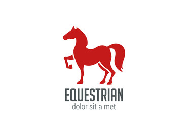 Horse Equestrian Logo vector design. Stallion Silhouette