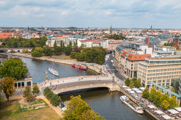 Berlin city view and river