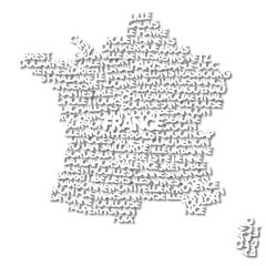 word cloud map of France
