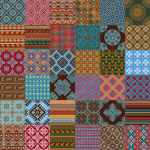 Most popular ethnic seamless textures in mega pack collections. - 69611876