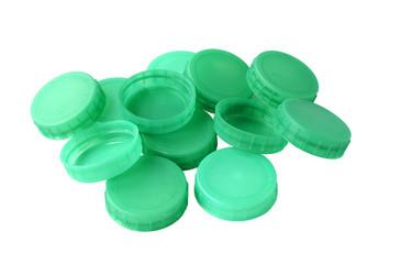 Green plastic bottle tops