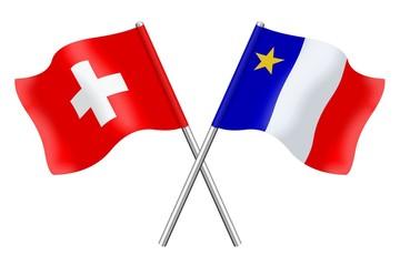 Drapeaux: Suisse et Acadie