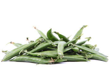 Green pea pods isolated on white background.