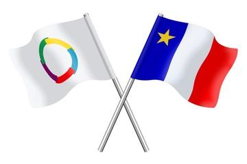 Drapeaux: Francophonie et Acadie