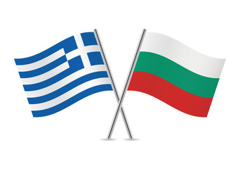 Greek and Bulgarian flags. Vector illustration.