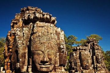 Giant Faces of Bayon Temple, Angkor Thom, Cambodia, Asia