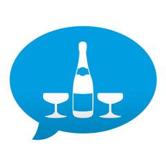 Etiqueta tipo app azul comentario simbolo botella de champan