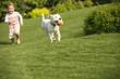 Junges Mädchen spielt mit Hund im Garten - 69613426
