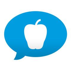 Etiqueta tipo app azul comentario simbolo manzana