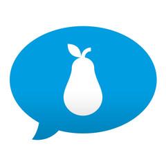 Etiqueta tipo app azul comentario simbolo pera