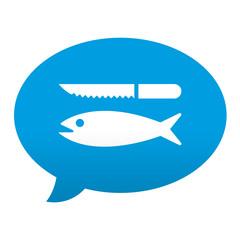 Etiqueta tipo app azul comentario simbolo pescaderia