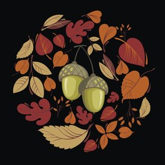 Vector card with autumn leaves and acorn