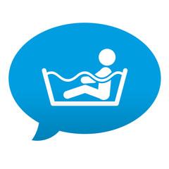 Etiqueta tipo app azul comentario simbolo bañera