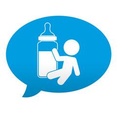 Etiqueta tipo app azul comentario simbolo biberon