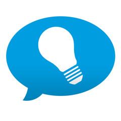 Etiqueta tipo app azul comentario simbolo bombilla