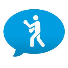 Etiqueta tipo app azul comentario simbolo boxeo