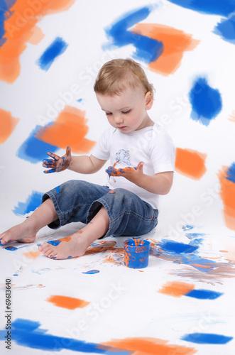 canvas print picture Kind mit Farben