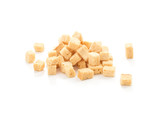 cube croutons on a white background