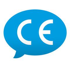 Etiqueta tipo app azul comentario simbolo Conformidad Europea