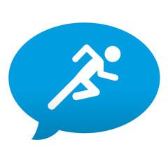 Etiqueta tipo app azul comentario simbolo corredor