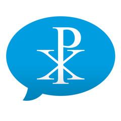 Etiqueta tipo app azul comentario simbolo crismon