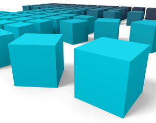 3D blue cubes in perspective point of view