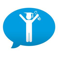 Etiqueta tipo app azul comentario simbolo diploma