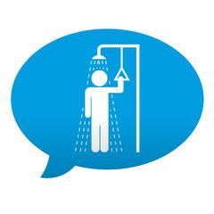 Etiqueta tipo app azul comentario simbolo ducha de emergencia