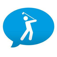 Etiqueta tipo app azul comentario simbolo goflista