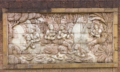 Stone carved in thai temple wall