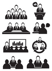 Business Meeting Vector Icon Set