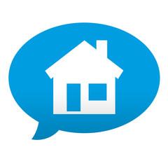 Etiqueta tipo app azul comentario simbolo hogar