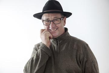 Joyous man with hat